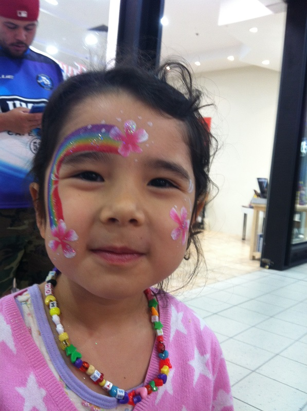 facepaint rainbow flowers quick design